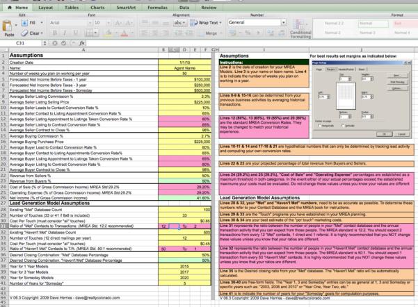 Mrea Business Planning Spreadsheet Regarding The Millionaire Real Estate Agent 4 Models Spreadsheet  Keller