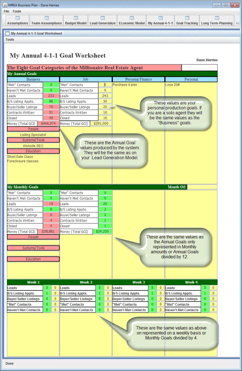 Mrea Business Planning Spreadsheet Within 411 Worksheet  Productivity Mastery
