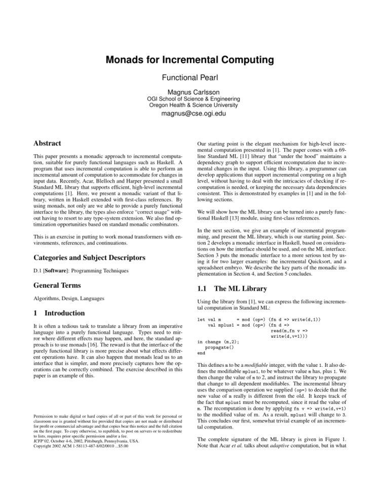 Mrea Economic Model Spreadsheet With Pdf Monads For Incremental Computing