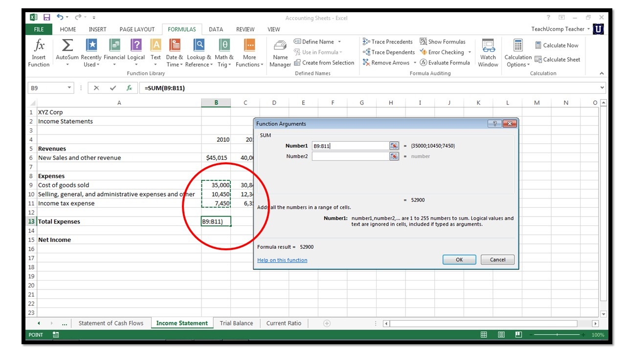 Ms Spreadsheet In How To Insert Functions In Microsoft Excel 2013