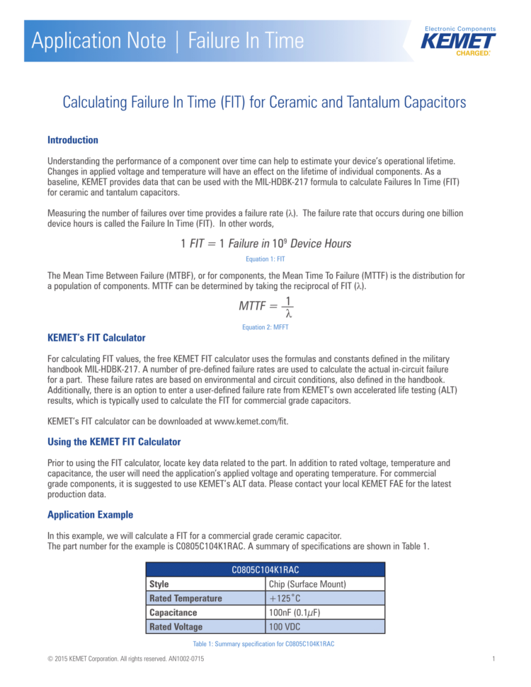 Mtbf Calculation Spreadsheet Intended For Knowledge » Calculating Failure In Time Fit Rate For Kemet