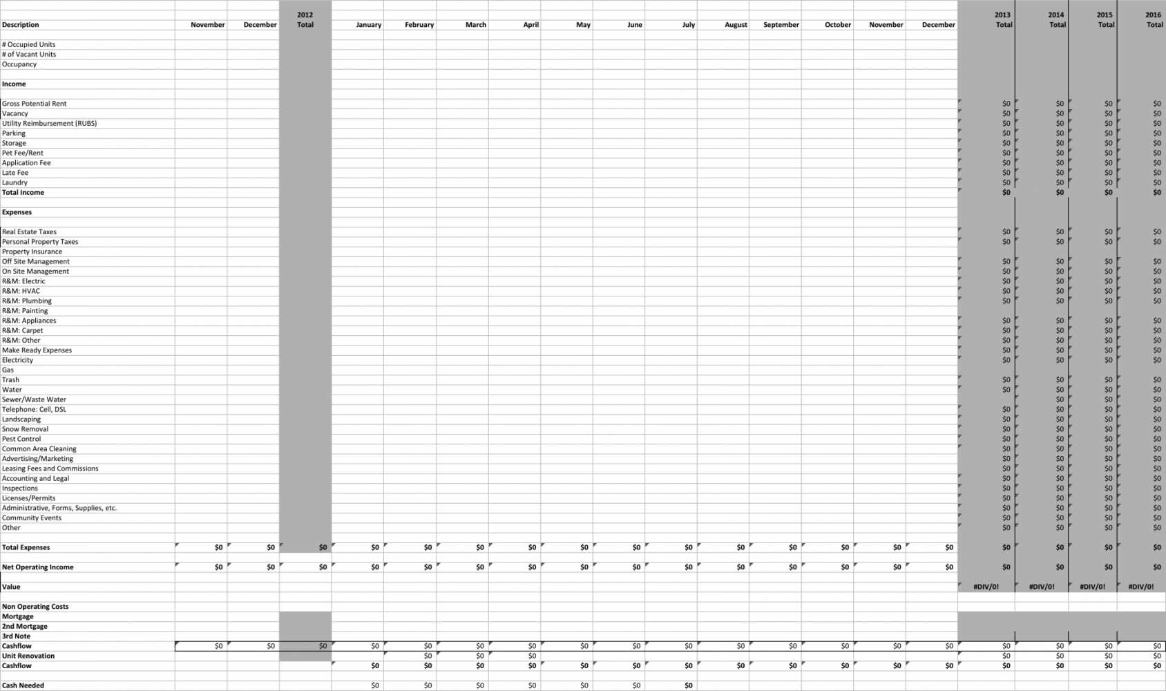Multifamily Pro Forma Spreadsheet With Multifamily Pro Forma Spreadsheet Custom Templates