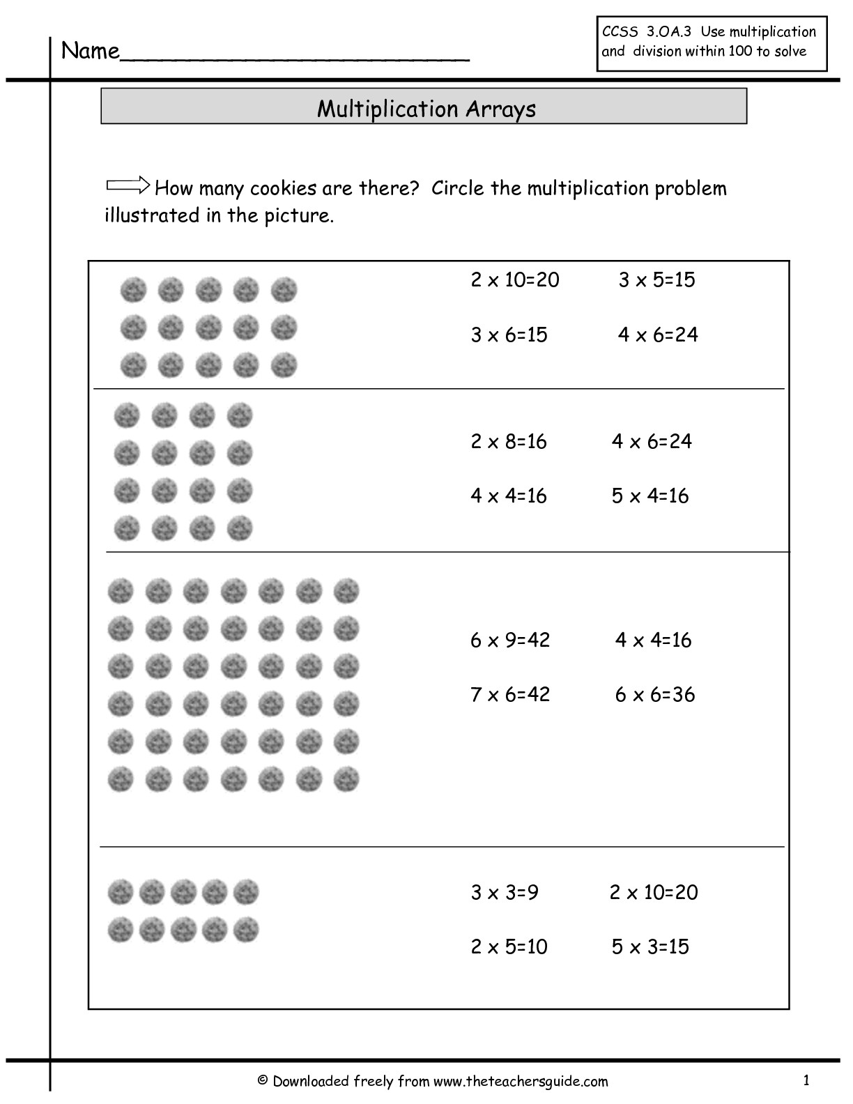multiplication spreadsheet pertaining to multiplication array worksheets from the teacher 39 s. Black Bedroom Furniture Sets. Home Design Ideas