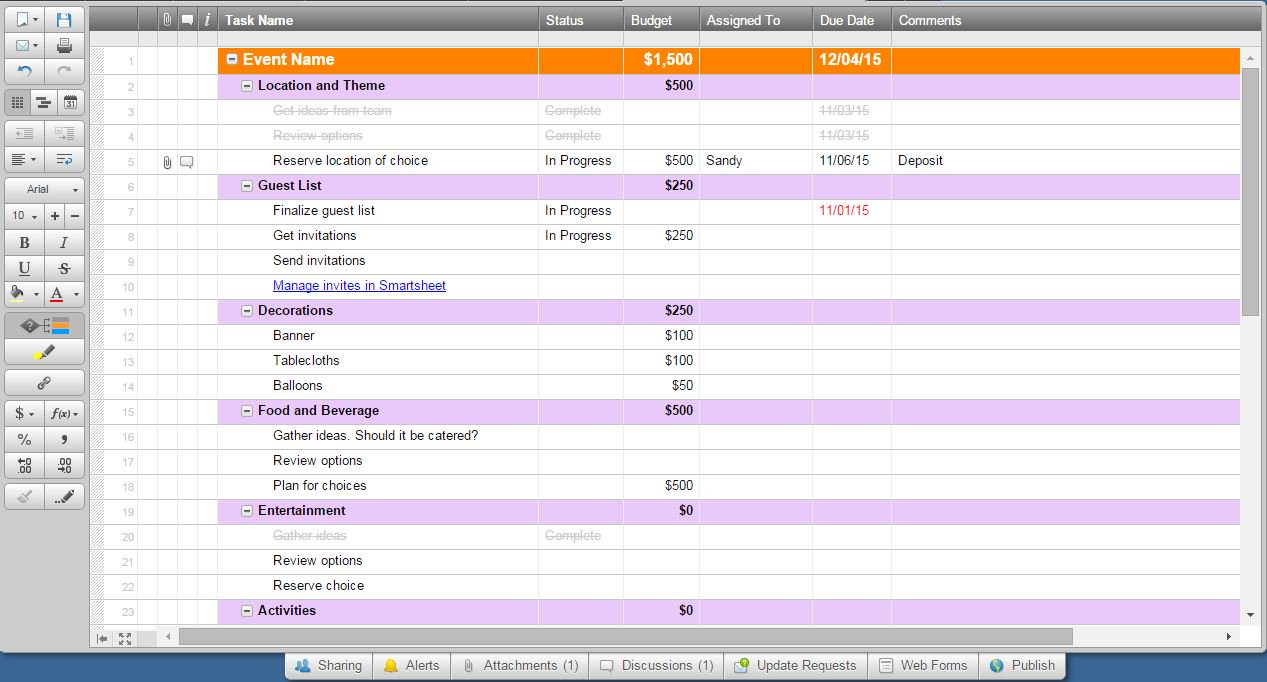 Music Festival Budget Spreadsheet In How To Use Smartsheet As Event Management Software