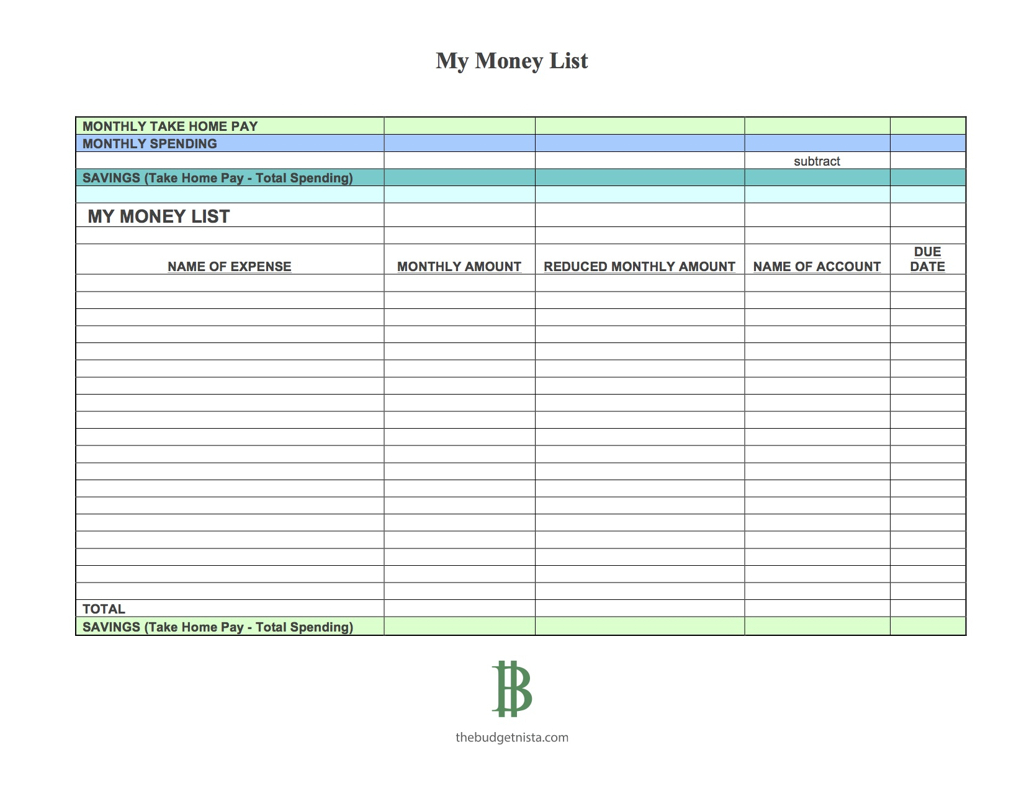 My Budget Spreadsheet In The One Week Budget Templates  The Budgetnista