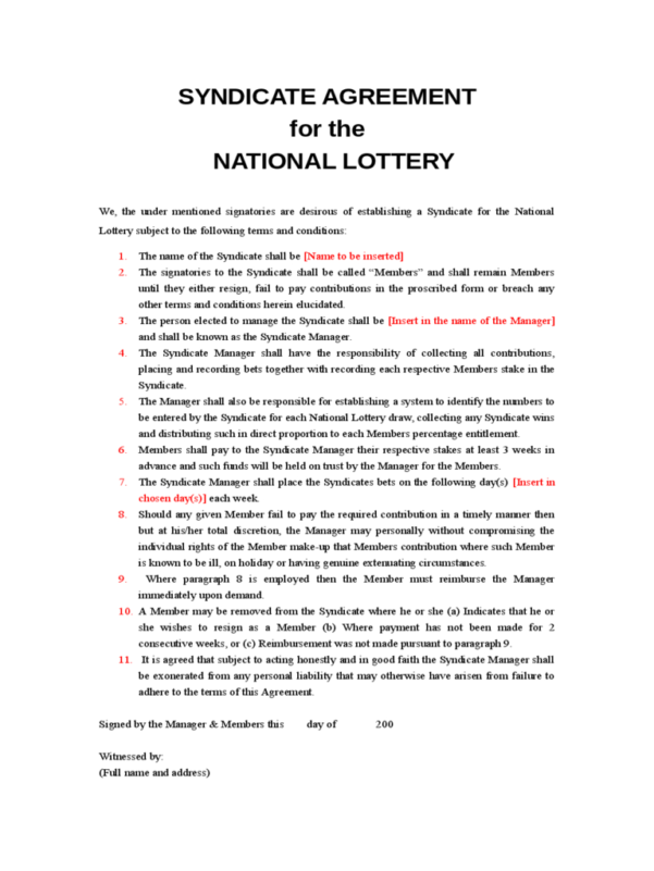 National Lottery Syndicate Spreadsheet Pertaining To Lottery Syndicate Agreement Form  6 Free Templates In Pdf, Word