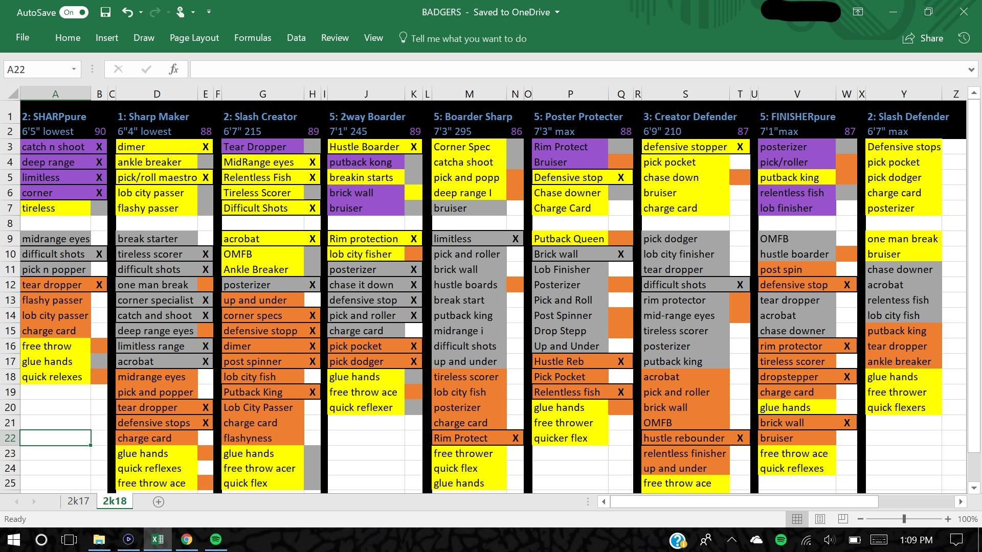 Nba 2K19 Badges Spreadsheet Pertaining To Ocd Spreadsheet I Made To Keep Track Of My Badges/players : Nba2K