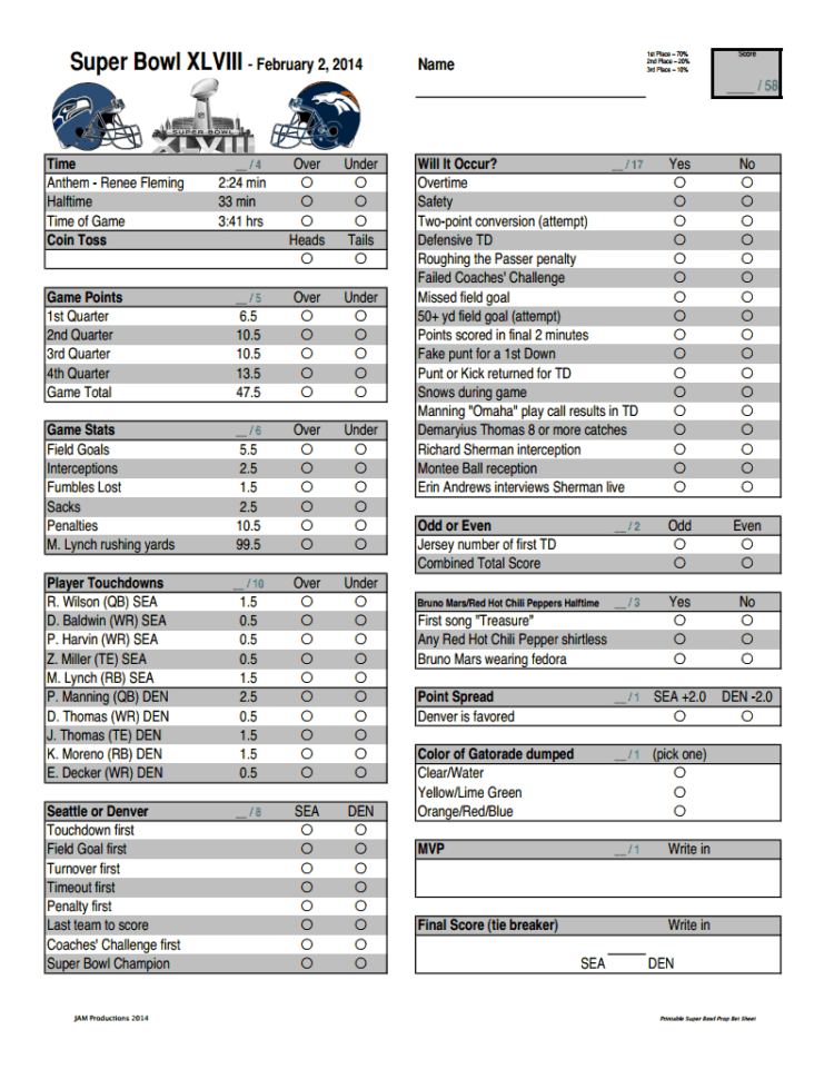 Nba Betting Spreadsheet In Print Out This Handy Prop Bet Sheet For Your Super Bowl Party  Si