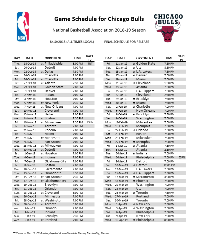 Enterprising image pertaining to chicago bulls schedule printable