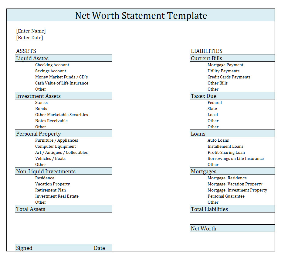 Net Worth Spreadsheet Template In Net Worth Statementlate Download Free Format In Excel Personal Form