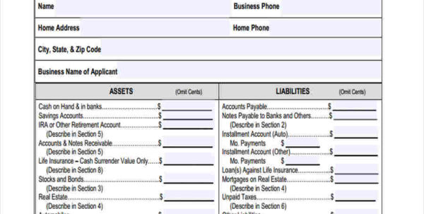 Net Worth Spreadsheet Template Intended For Personal Net Worth Statement Form Zaxatk 2099 Term Paper Academic