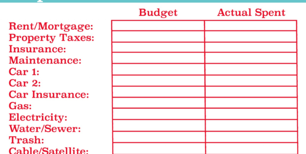 New Home Budget Spreadsheet Throughout Home Budget Worksheet Template New Household Bud Spreadsheet Excel