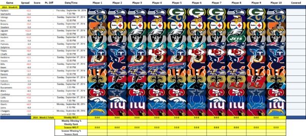 Nfl Confidence Pool Excel Spreadsheet For Nfl Pick 'em  In Ms Excel : Nfl