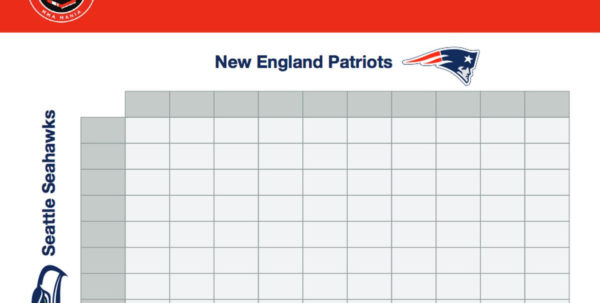 Nfl Confidence Pool Spreadsheet Throughout Super Bowl Squares Sheet Game: Download Printable Seahawks Vs