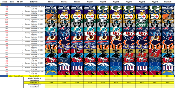 Nfl Spreadsheet Excel In Nfl Pick 'em  In Ms Excel : Nfl Nfl Spreadsheet Excel Spreadsheet Download