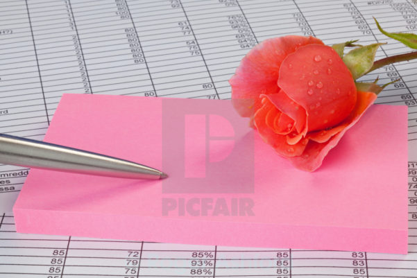 Notepad Spreadsheet Inside Rose And Notepad On A Spreadsheet  License For £6.20 On Picfair