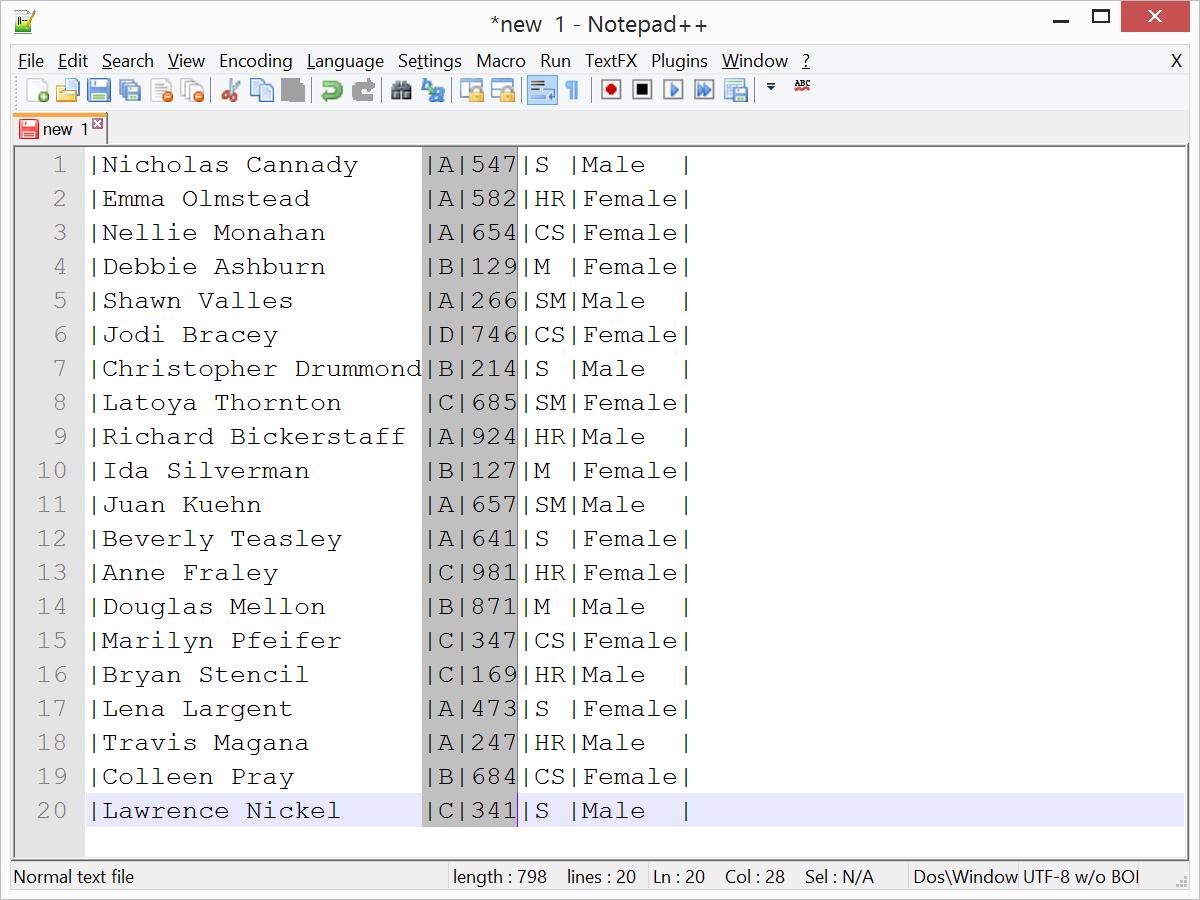 Notepad Spreadsheet With Edit Columns In Notepad   With Textfx Plugin  Cathrine Wilhelmsen