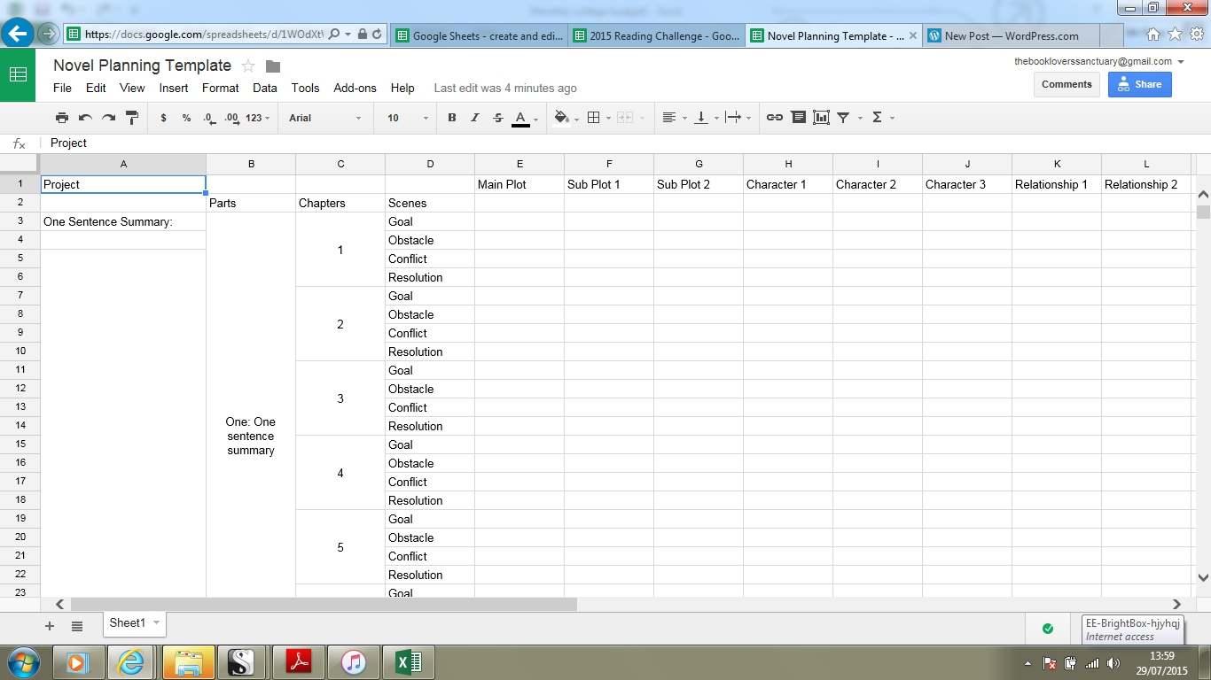 Novel Spreadsheet Template Intended For Novel Planning Spreadsheet Templates  Sam Piper, Writes