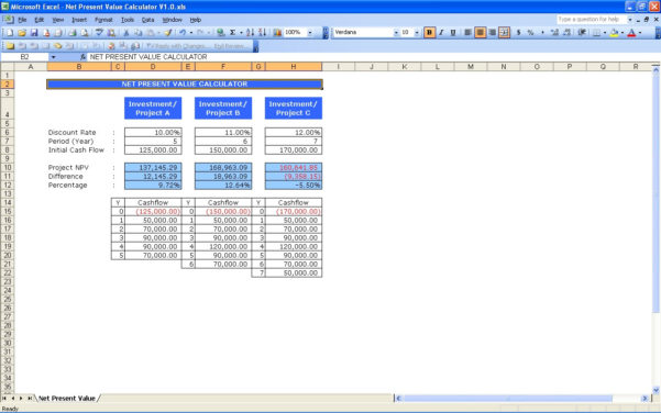 Npv Excel Spreadsheet Template Intended For Net Present Value Calculator  Excel Templates