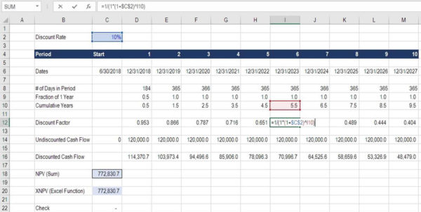 Npv Excel Spreadsheet Template Pertaining To Discount Factor  Complete Guide To Using Discount Factors In Model