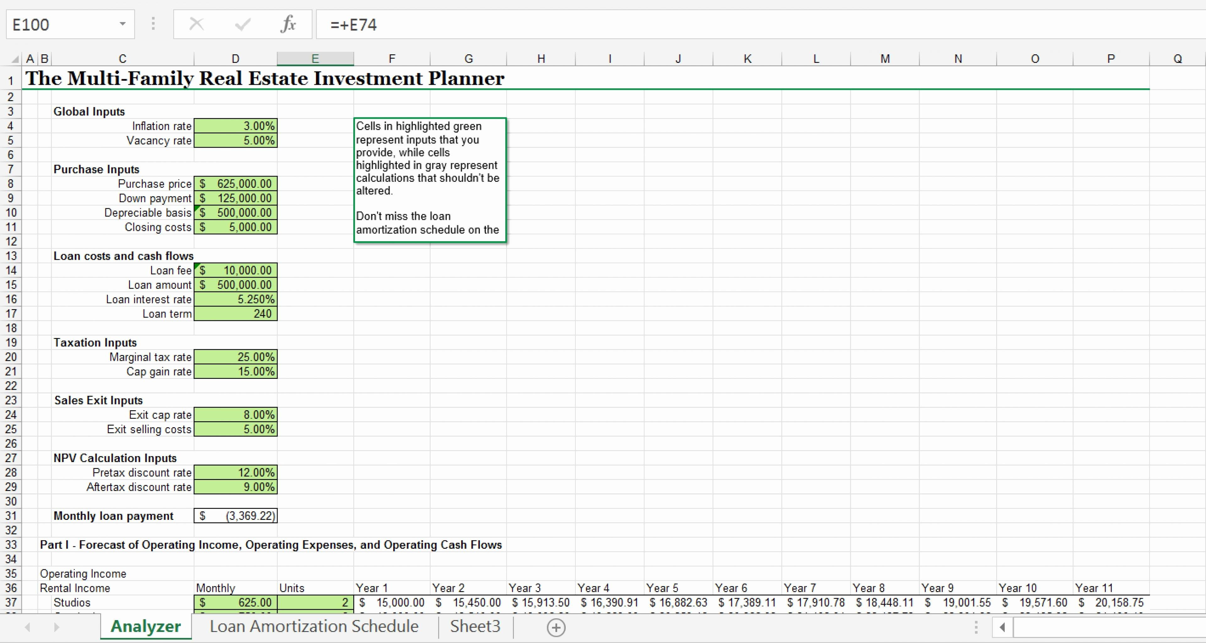 Npv Excel Spreadsheet Template With Npv Excel Template  My Spreadsheet Templates