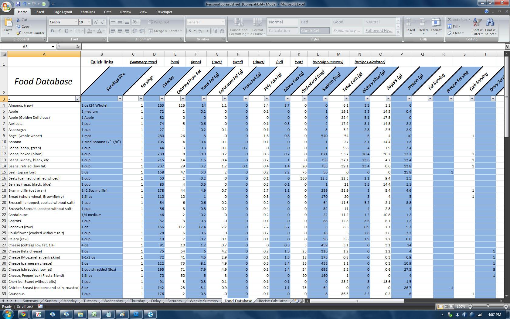 Nutrition Spreadsheet Excel Throughout P90X Spreadsheet  Homebiz4U2Profit