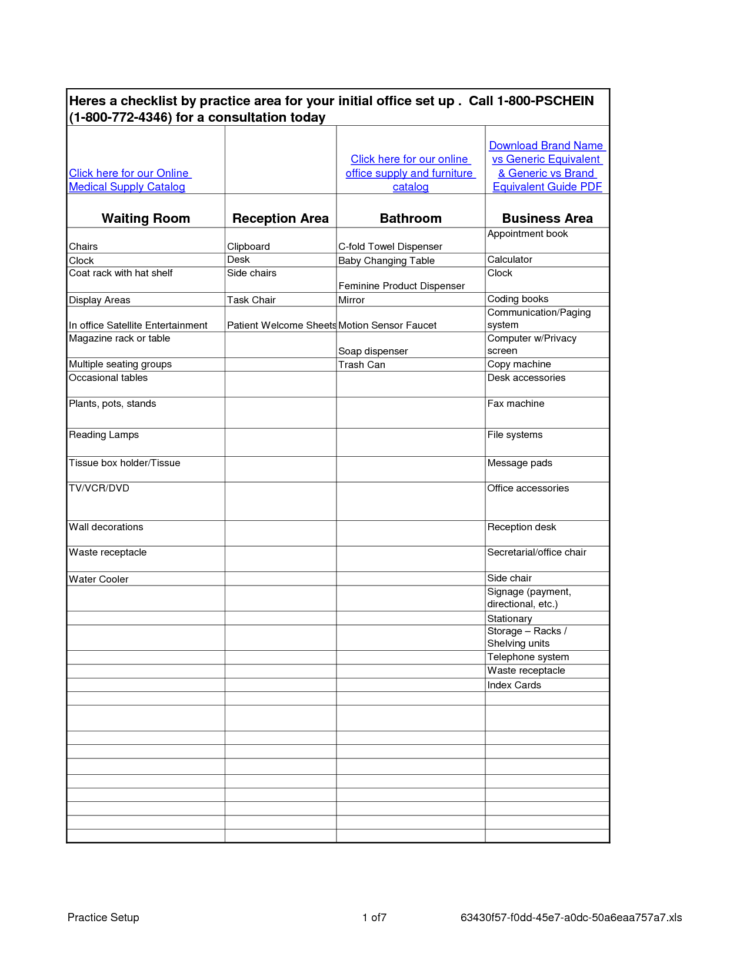 Office Housekeeping Checklist Spreadsheet Inside Office Supplycklist Printable Template Excel General Pdf  Perezzies