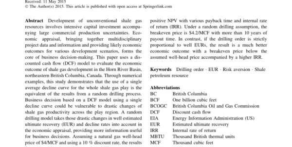 Oil And Gas Economics Spreadsheet In Pdf Economic Appraisal Of Shale Gas Resources, An Example From The