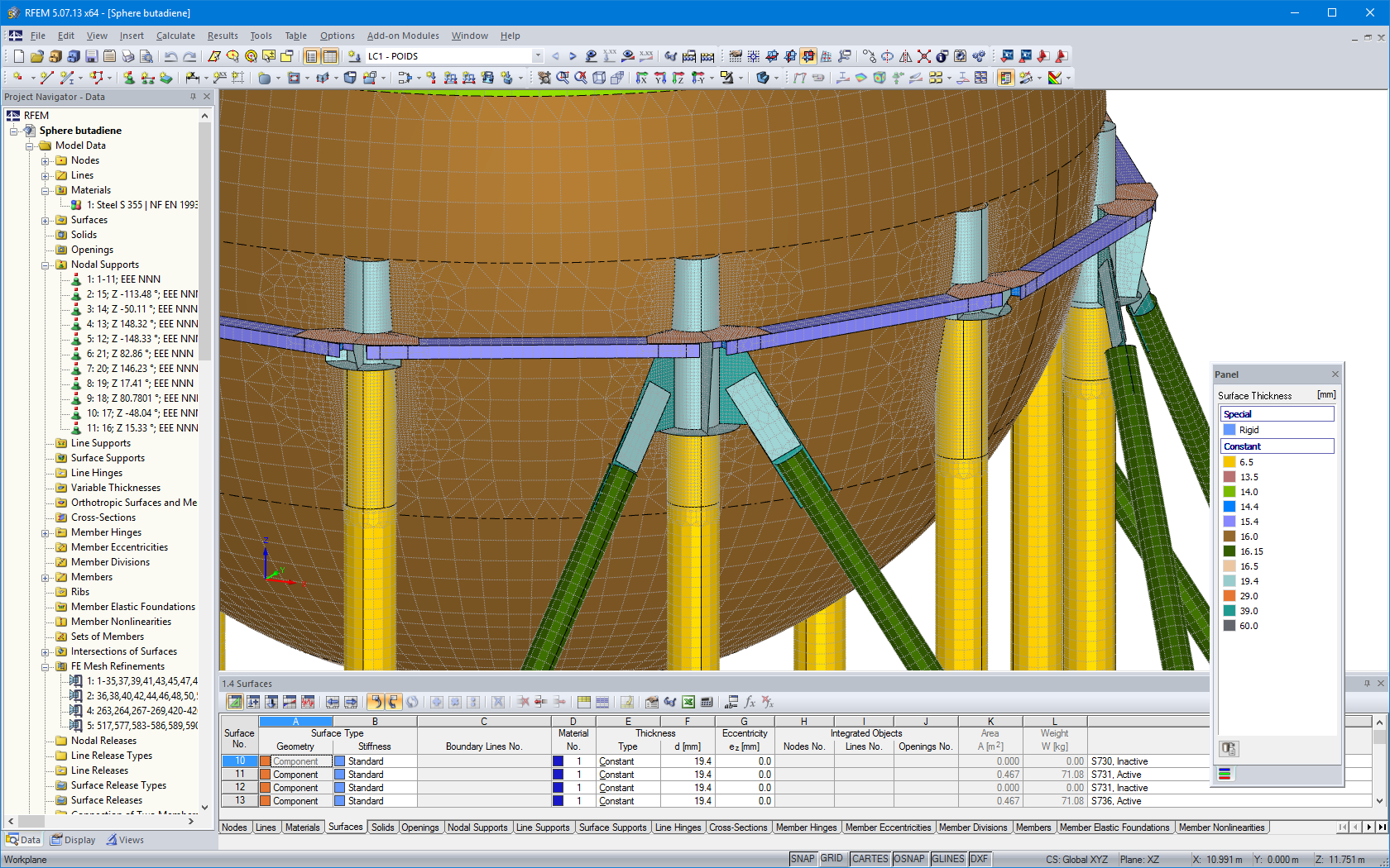 Oil Storage Tank Foundation Design Spreadsheet With Regard To Customer Project: Butadiene Storage Spheres, France  Dlubal Software