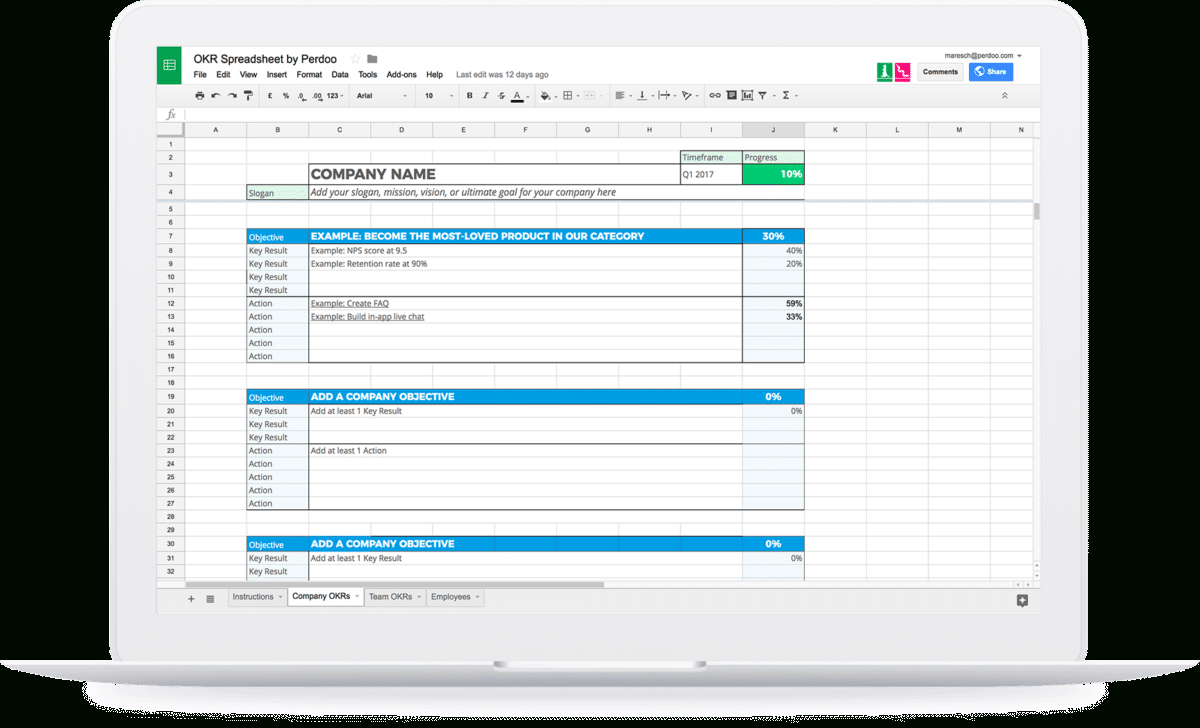 Okr Google Spreadsheet Within Okr  The Ultimate Guide To Objectives And Key Results
