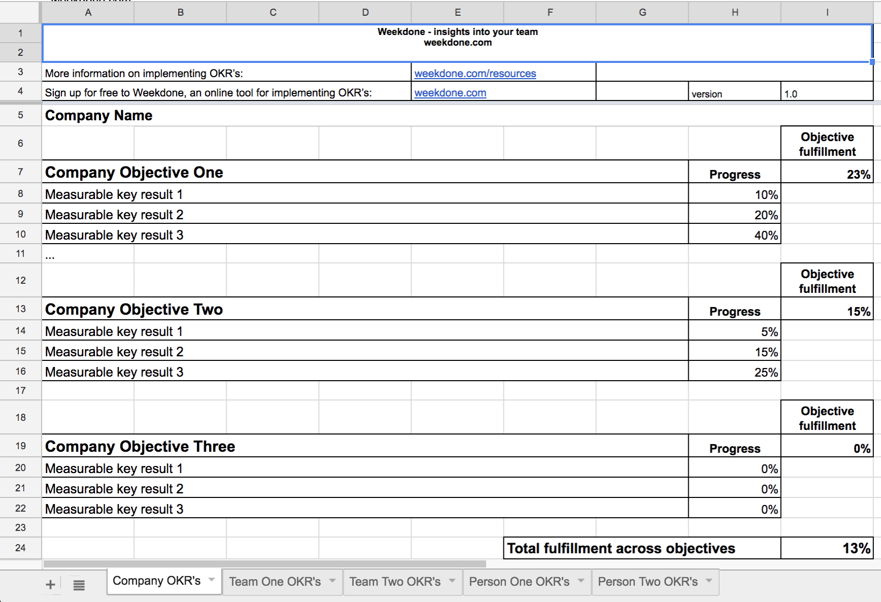 Okr Google Spreadsheet Within Why You Shouldn't Use Spreadsheets To Set And Track Your Team Goals