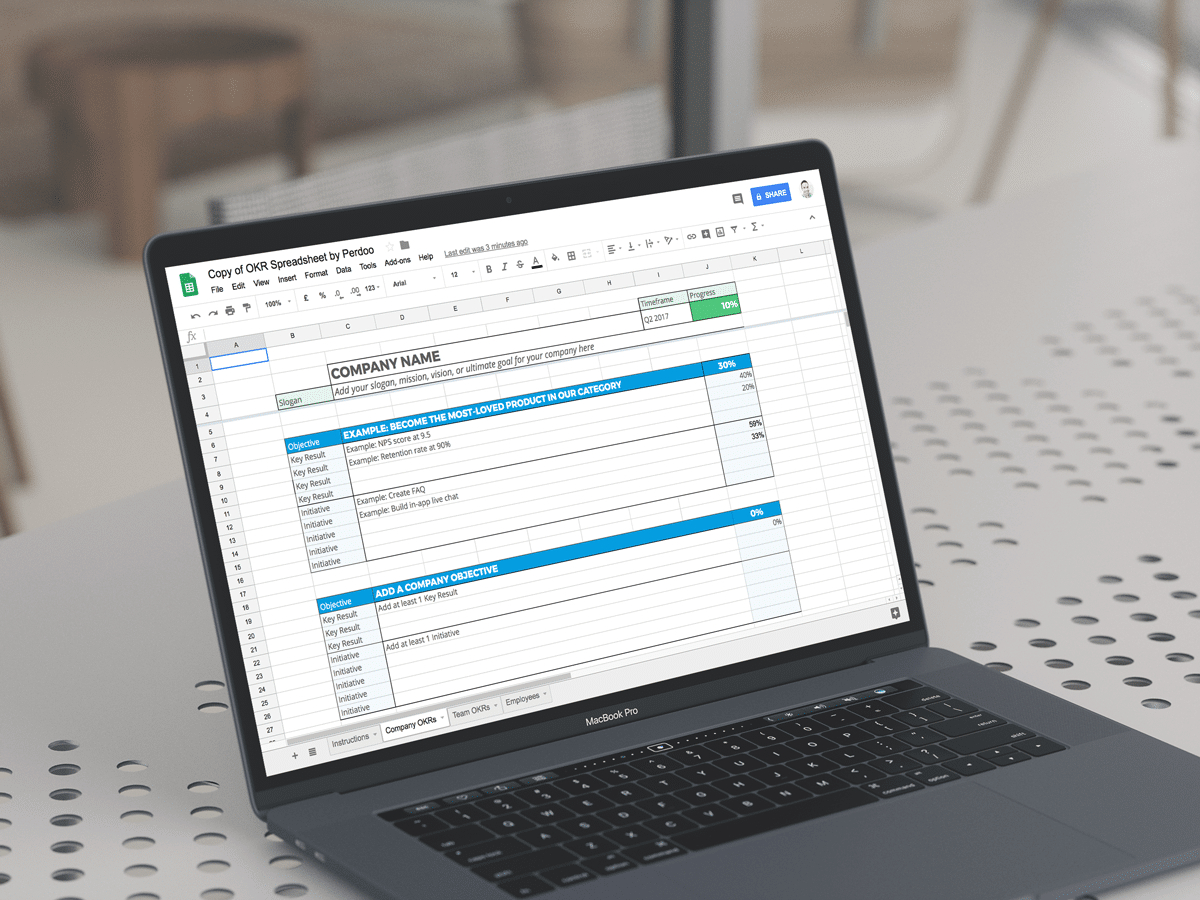 Okr Spreadsheet Template With Regard To A Free Google Sheets Okr Template To Help You Manage Your Goals