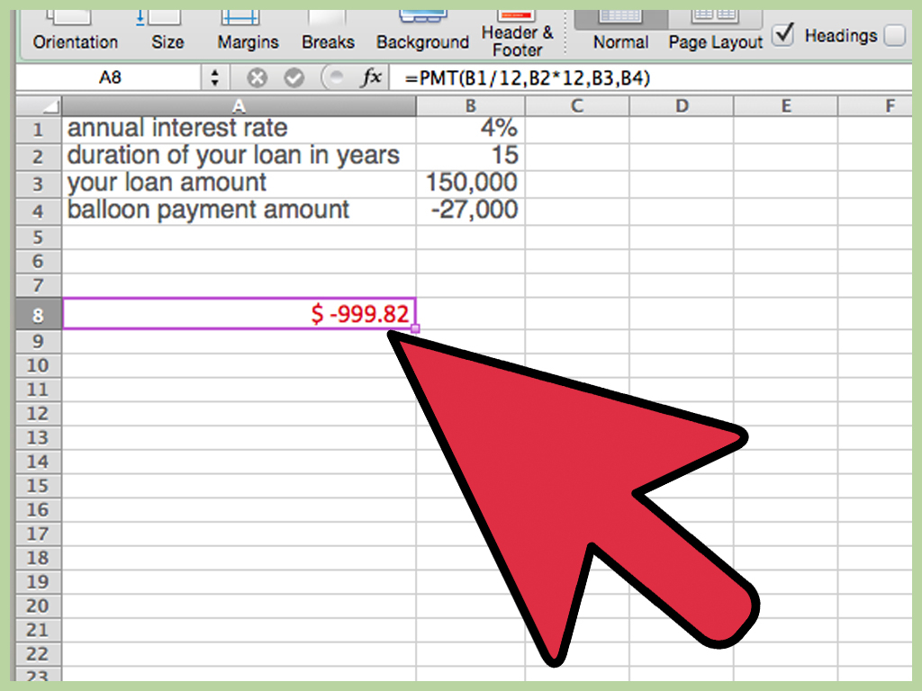Online Loan Repayment Calculator Spreadsheet For How To Calculate A Balloon Payment In Excel With Pictures