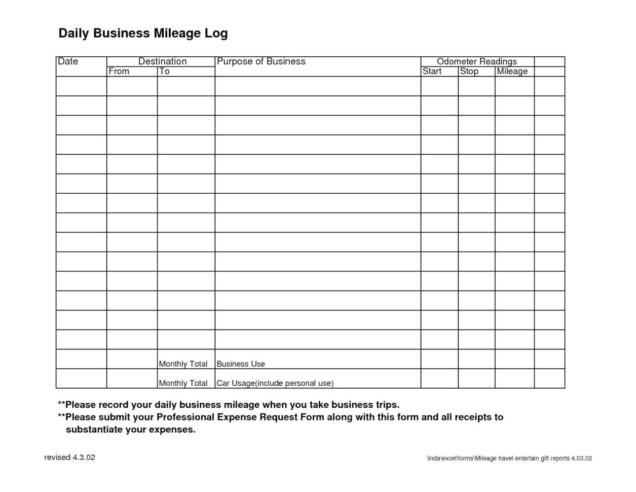 Online Mileage Log Spreadsheet For Mileage Tracker Form Mileage Tracker Spreadsheet For Mileage
