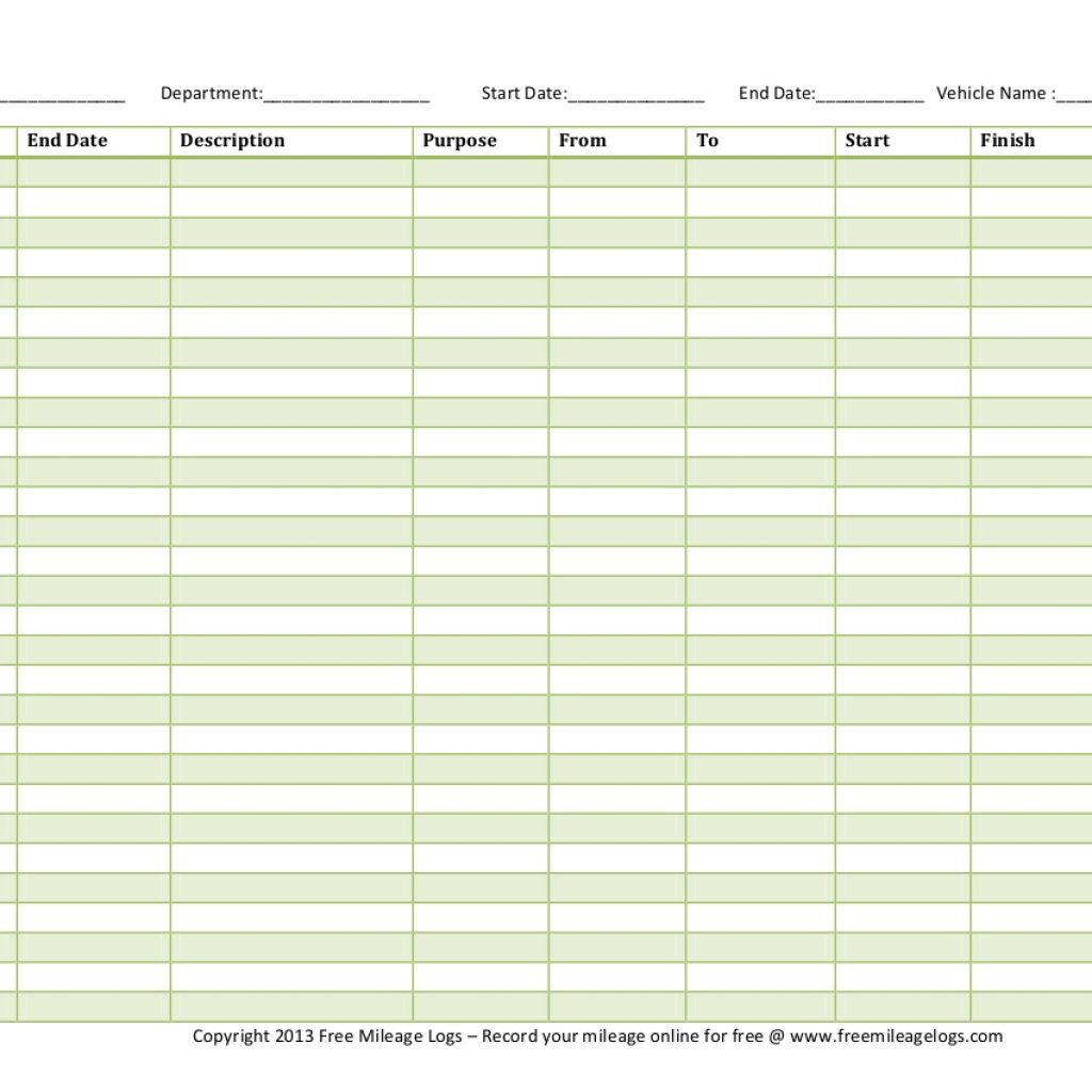 Online Mileage Log Spreadsheet Within Free Printable Mileage Logs With Vehicle Expense Log Template