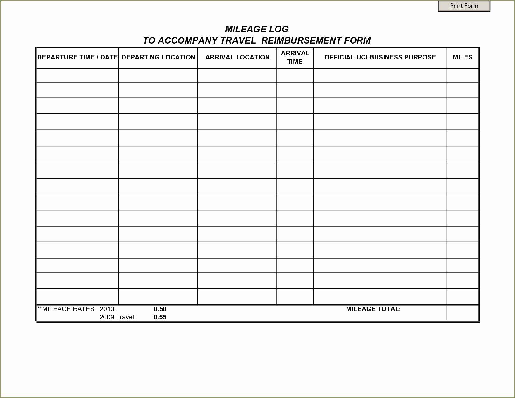 Online Mileage Log Spreadsheet within Mileage Form ...