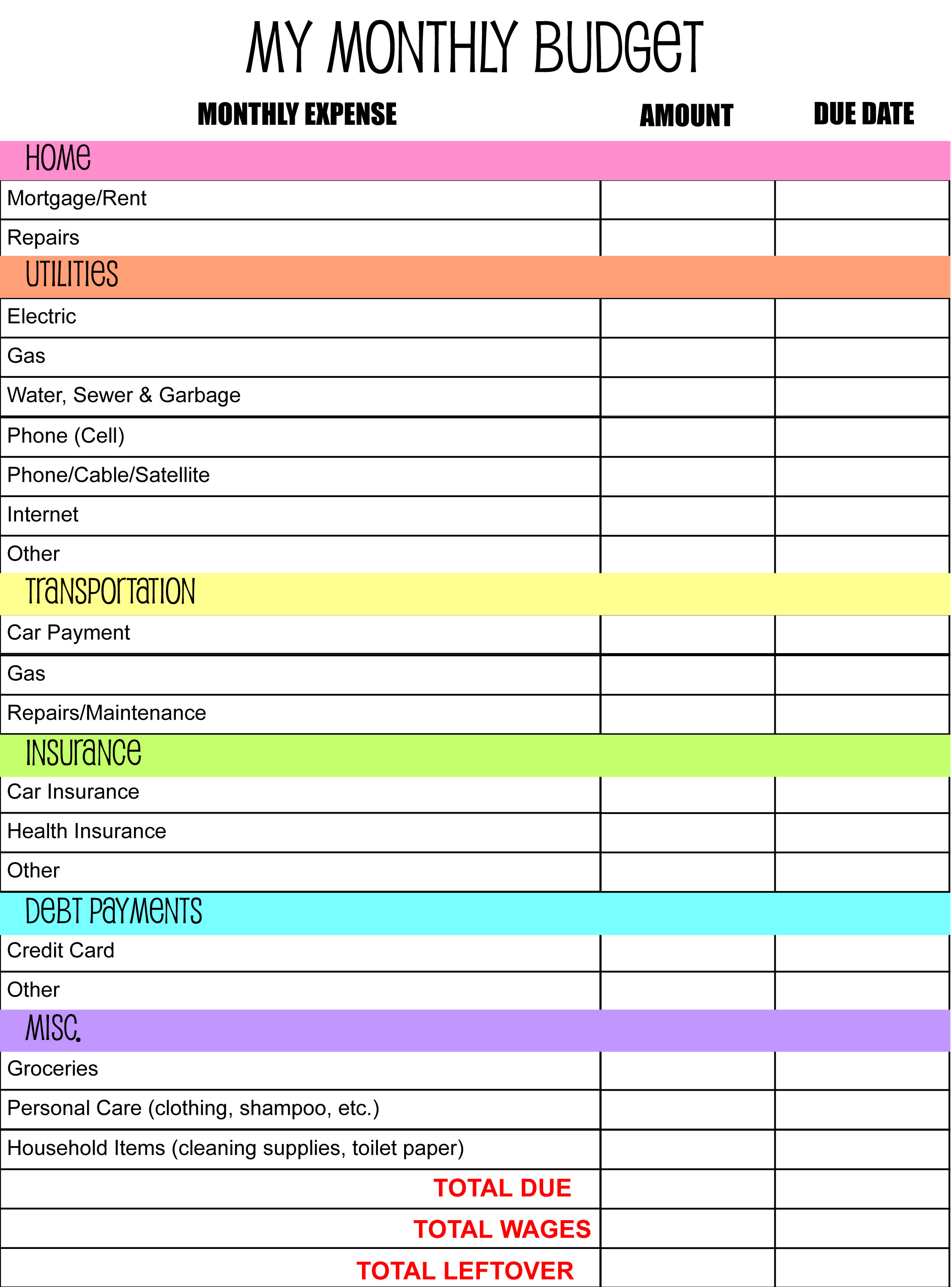 Online Monthly Budget Spreadsheet Throughout Free Bill Organizer Printables Monthly Budget Plannerte Printable