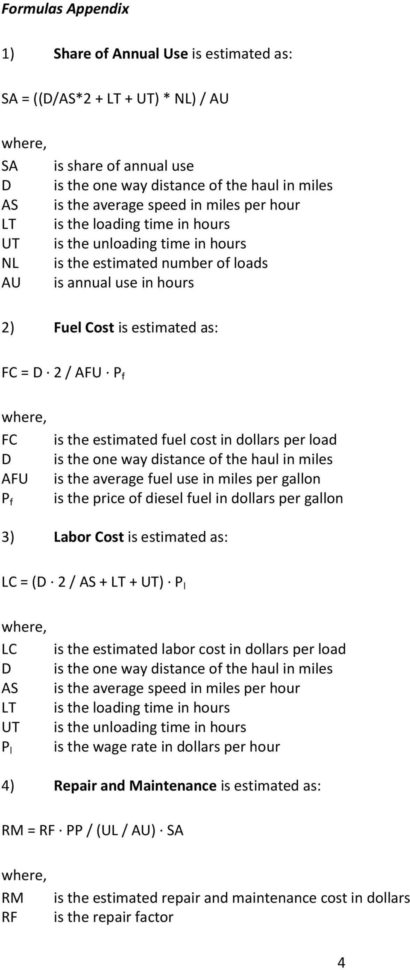 Ooida Cost Per Mile Spreadsheet With Grain Hauling Cost Calculator Instructions  Pdf