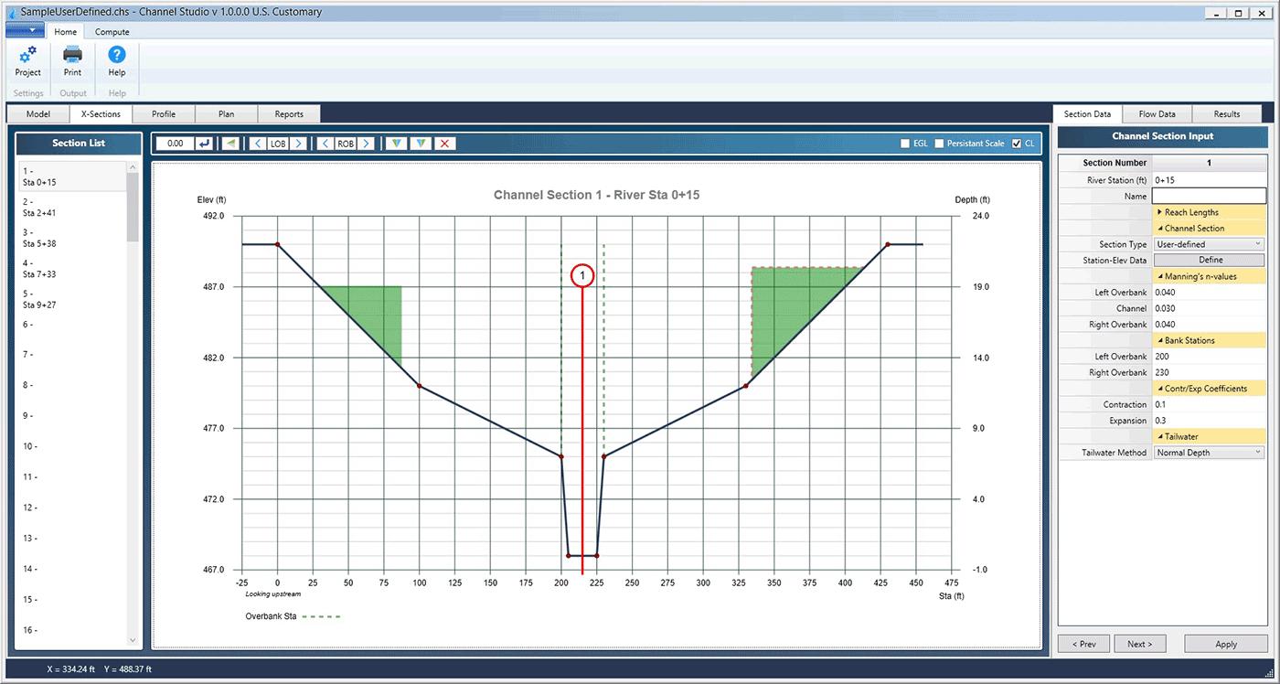 Open Channel Flow Calculator Spreadsheet Regarding Open Channel Hydraulics Software  Channel Studio