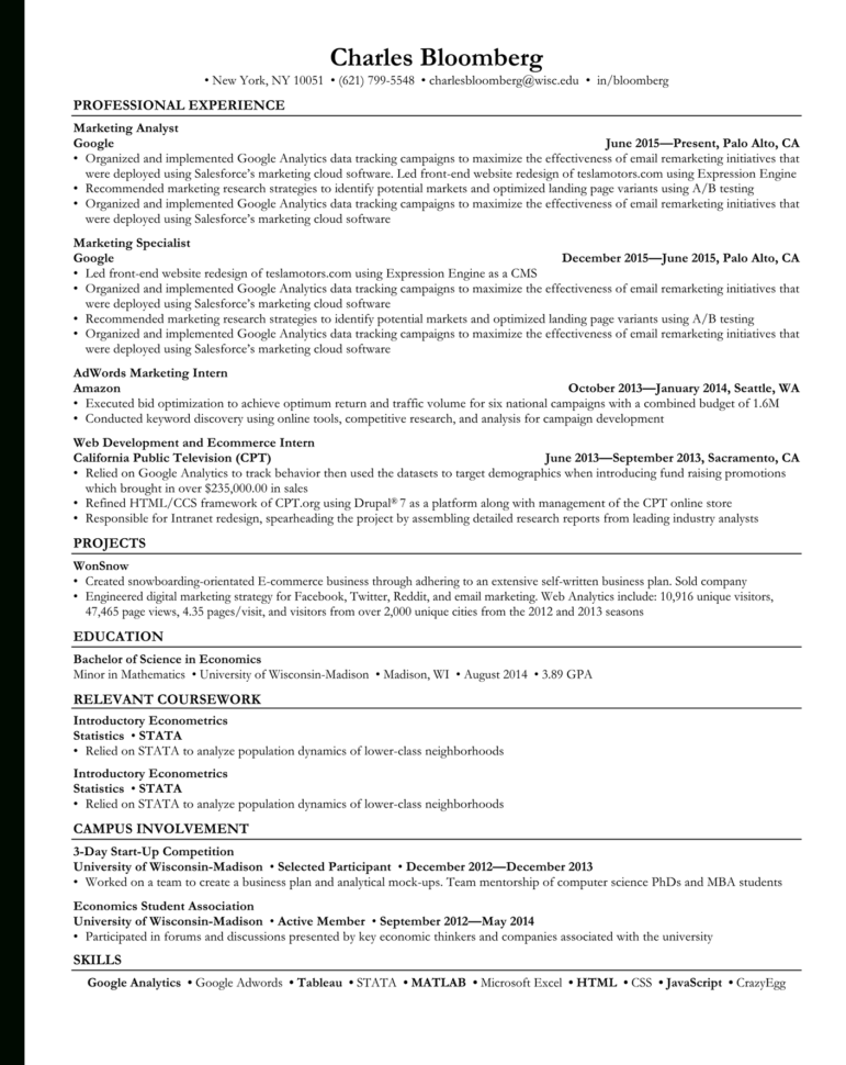 Open To Buy Spreadsheet Example For Rezi  Ats Optimized Resume Templates