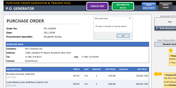 Open To Buy Spreadsheet Example Inside Purchase Order Template  Excel Po Generator  Tracker Tool