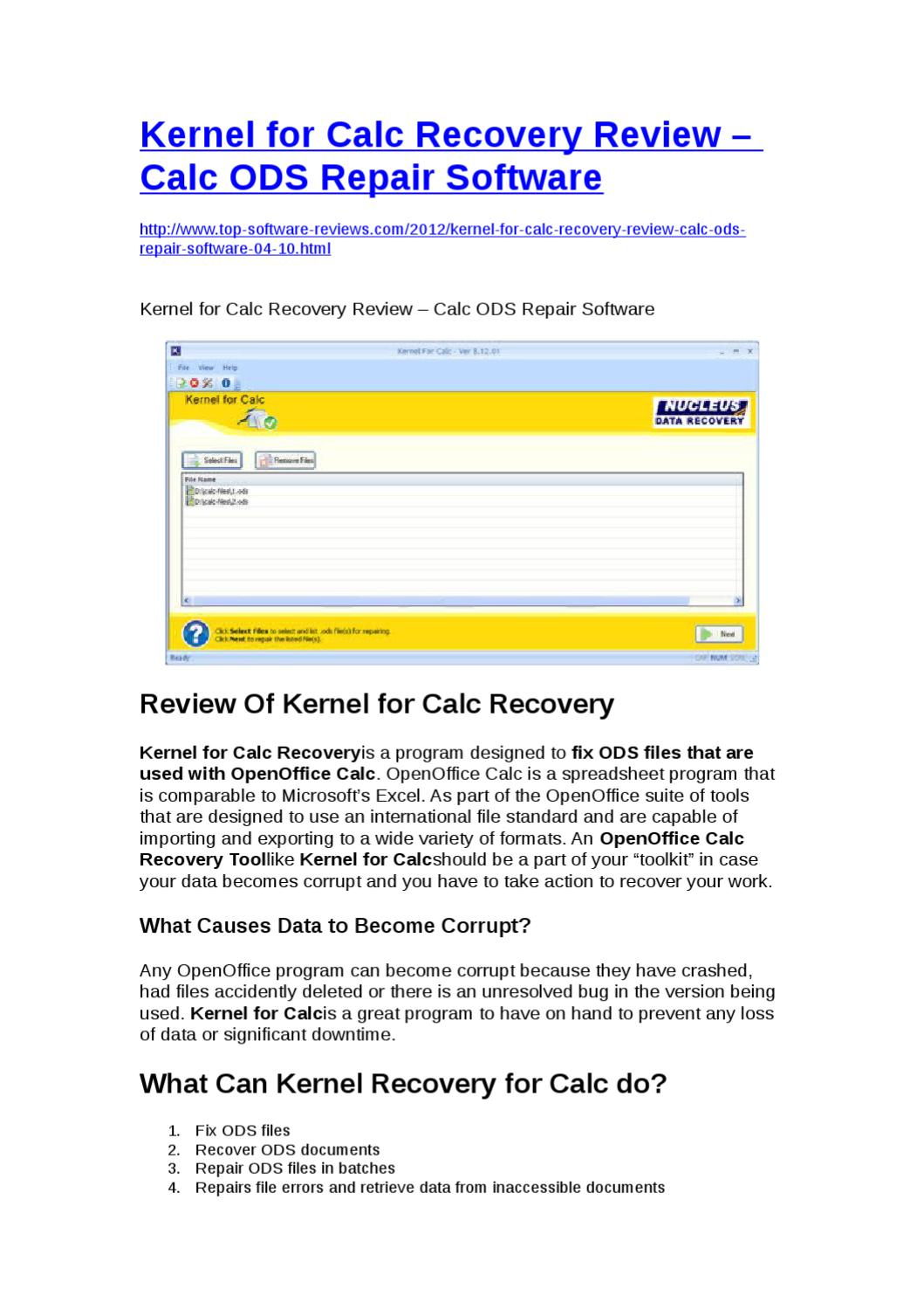 Openoffice Spreadsheet Recovery Throughout Kernel For Calc Recovery Reviewyongqiang Xie  Issuu