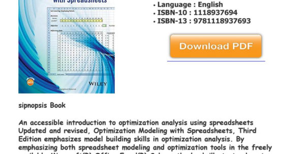 Optimization Modeling With Spreadsheets 3Rd Edition Pdf Throughout Download [Pdf] Optimization Modeling With Spreadsheets Kenneth