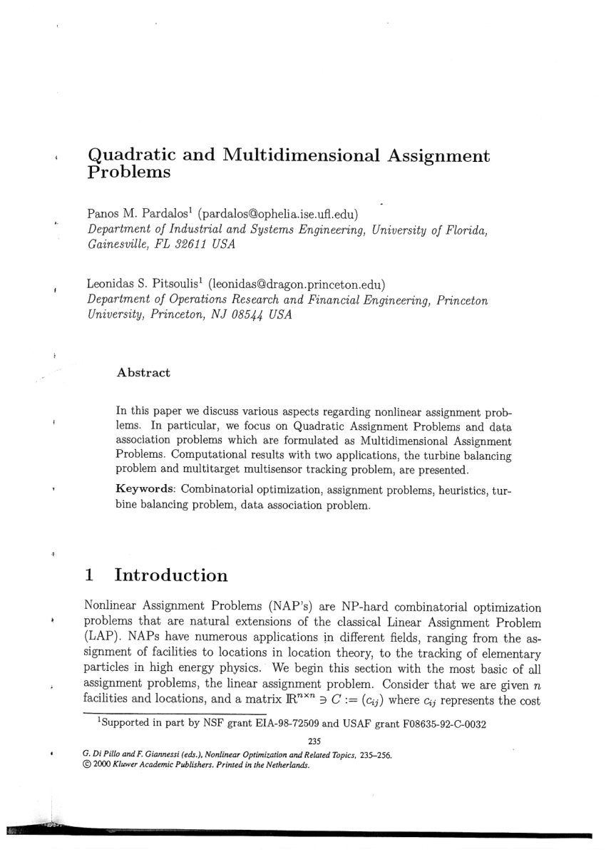 Optimization Modeling With Spreadsheets Solutions In Solution Methods For The Balancing Of Jet Turbines  Request Pdf