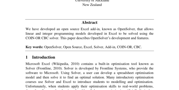 Optimization Modeling With Spreadsheets Solutions Manual Pdf In Pdf Opensolver: Open Source Optimisation For Excel
