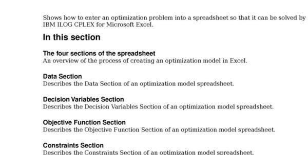 Optimization Modeling With Spreadsheets Solutions Manual Pdf With Ibm Ilog Cplex For Microsoft Excel User's Manual  Pdf