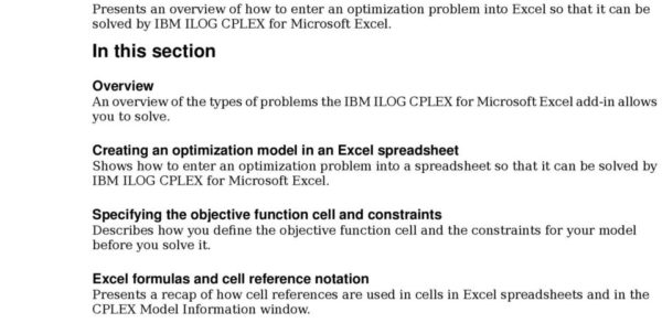 Optimization Modeling With Spreadsheets Solutions Manual Pdf With Regard To Ibm Ilog Cplex For Microsoft Excel User's Manual  Pdf