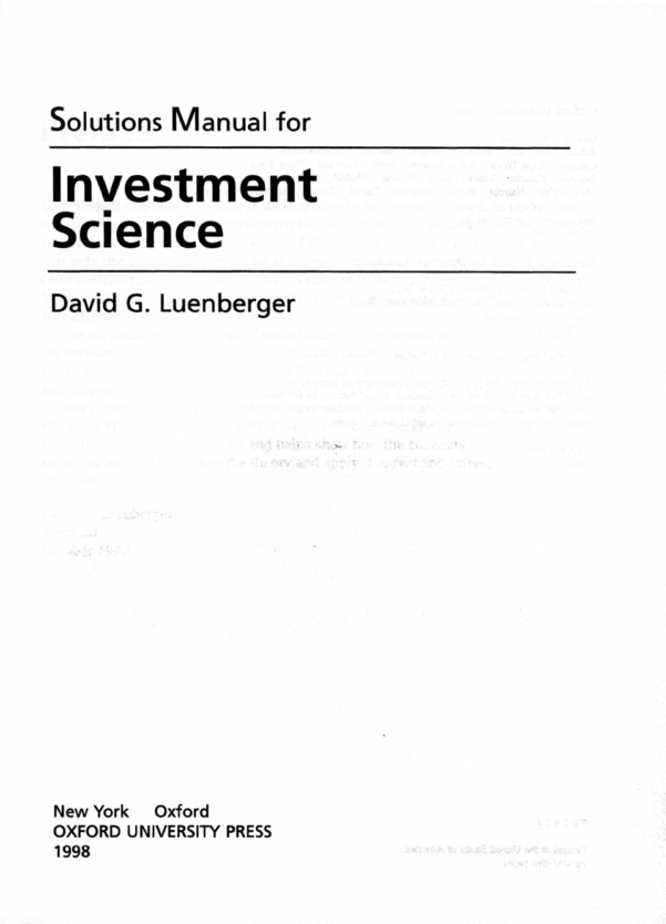 Optimization Modeling With Spreadsheets Solutions Manual With Regard To Solution Manual For Investment Sciencedavid Luenberger