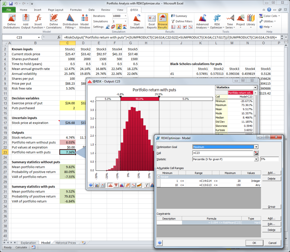 Optimization Modeling With Spreadsheets Solutions Pertaining To Riskoptimizer: Monte Carlo Simulation With Optimization Software