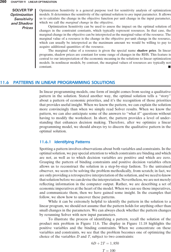 Optimization Modeling With Spreadsheets Solutions Within Patterns In Linear Programming Solutions  Management Science: The